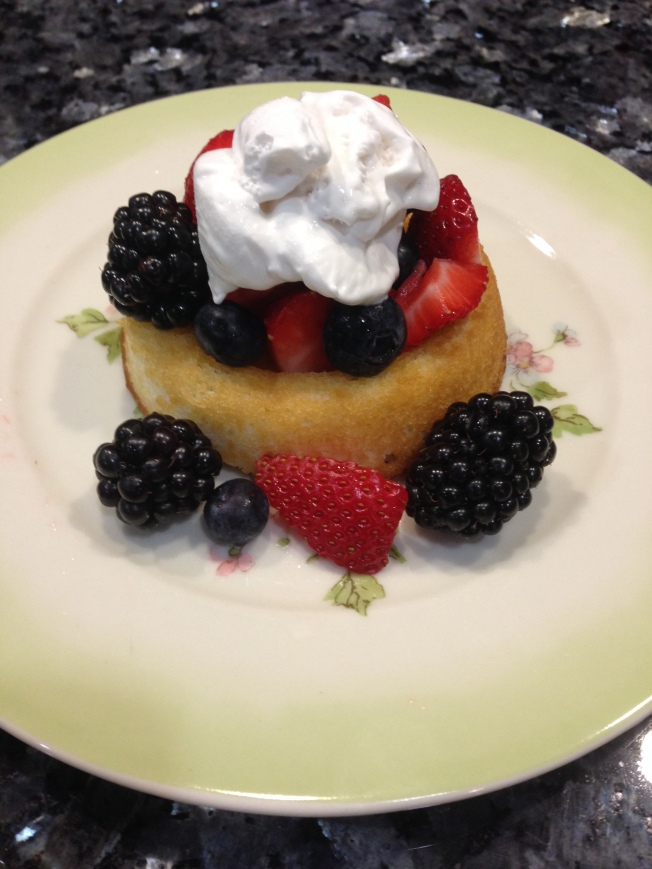 Strawberry Shortcake with pareve whipped cream