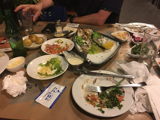 We stopped in at a fish restaurant by the water in Tel Aviv. We enjoyed a delicious meal and the beautiful nighttime air on the patio.