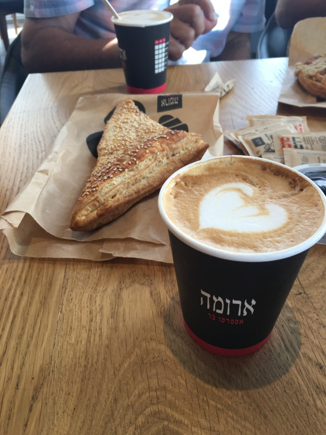 Quick stop at a cute coffee shop on the way to Jerusalem.